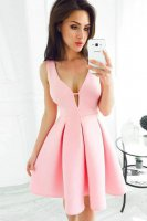 Cute V Neck Pink Thick Satin Homecoming Dress Graduation Party Wear