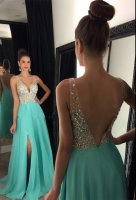 Sexy Deep V Neck Nude Top AB Rhinestone Bodice Ice Blue Split Skirt Prom Evening Dress