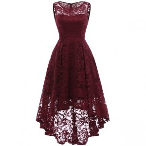 Transparent Scoop Neck High Low Full Lace Wine Red Cocktail Dress For Dancing