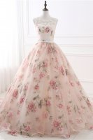 Scoop Neckline Unique Printed Rose Pattern Floral Pageant Gowns Colorful