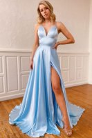 Spaghetti Straps Crossed Ties Back Baby Blue Evening Pageant Dress Has Slit