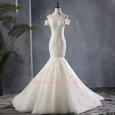 Double Straps Off Shoulder Sweetheart Appliques Off White Mermaid Wedding Bridal Gowns Elegant