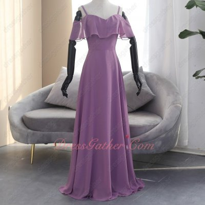 Plum Deep Mauve Spaghetti Straps Flouncing Wedding Ceremony Bridesmaid Dress Cheap