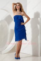 Side Flouncing Royal Blue Chiffon Bridesmaid Dress at Discount
