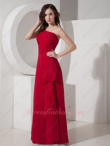 Ordinary Style One Shoulder Wine Red Chiffon Romantic Bridesmaid Dress Floor Length