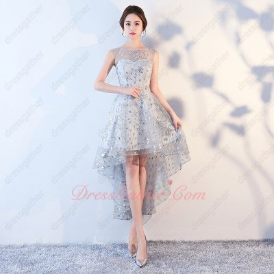 Romantic Silver High Low Striated Lace Young Girl Drinking Party Dress