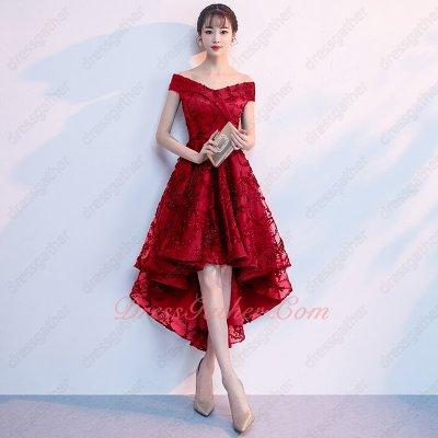Modest V-neck Red High Low Lace Young Lady Engagement Dress Essentials