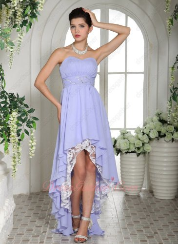Pretty Girlish Selection Cocktail Dress Lavender High-low Skirt Lace Lining Inside