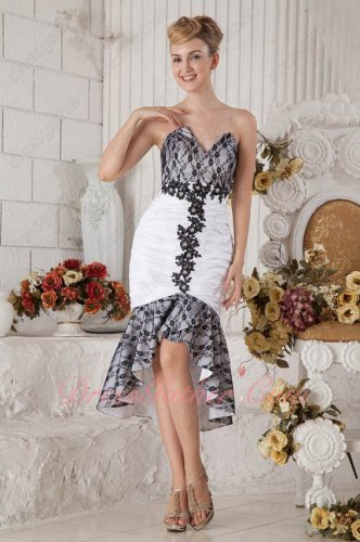 V-Shaped Cut Out White High Low Mermaid Prom Evening Dress With Black Thin Lace