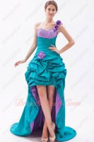One Strap High Low Sweep Train Cocktai Prom Dress Turquoise With Lilac Lining