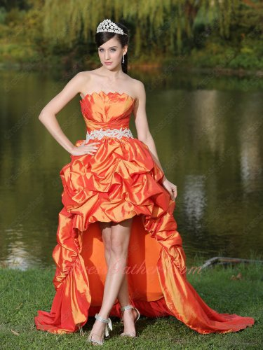Irregular High-Low Hemline Orange Taffeta Bubble Cocktail Party Pageant Dress Train