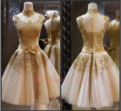 High Collar Champagne Tulle Gold Applique and Belt Short Prom Gowns Wholesale