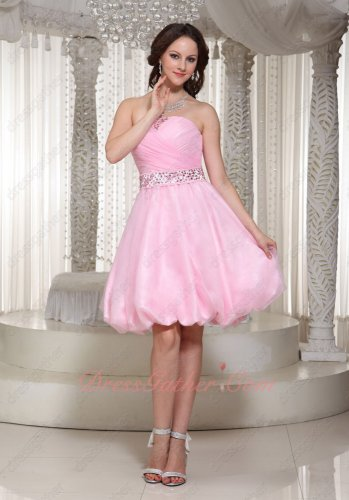 Lovely Strapless Beaded Girdle Baby Pink Pettiskirt Graduation Prom Gown Good Review