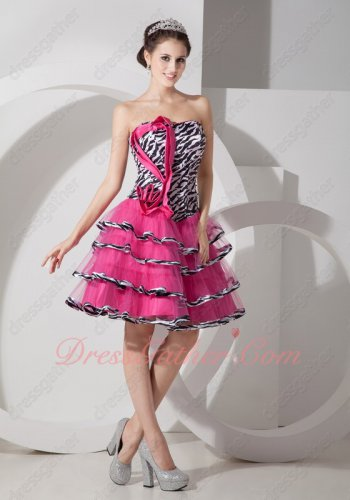 Demitoilet Little Prom Dress Promotion Zebra Basque With Hot Pink Layers Skirt