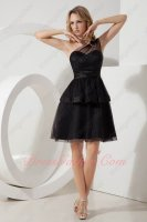 Mature One Shoulder Two Layers Tulle Universal Little Black Gowns Prom Wear