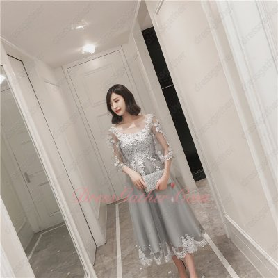 Appliques Bodice Tea-Length Half Sleeves Layers Tulle Silver Lacework Prom Dress
