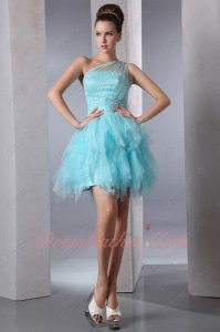 One Shoulder Ice Blue/Aqua Princess Waterfall Layers Tulle Skirt Short Gowns Attire
