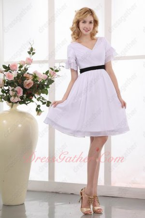 Short Sleeves Knee Length Prom Dress Pure White Chiffon Black Belt Free Shipping