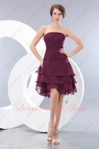 Layers Skirt Dark Purple Short Prom Gowns Photography Studio Property Attire
