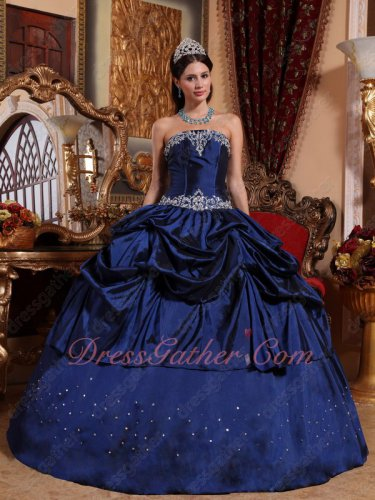 Navy Blue Half Pick up Half Plain Taffeta Find Quniceanera Ball Gown Modest
