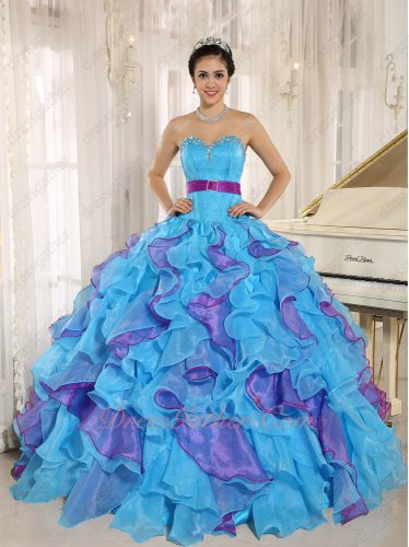 Bright Orchid/Mauve Purple and Aqua Dense Ruffles Quinceanera Gown With Belt