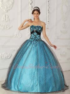 Pretty Black Dotted Wave Point Tulle Cover Prom Ball Gown Aqua Blue Lining