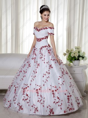 Off Shoulder Short Sleeves Wine Red Leaves Embroidery White Ball Gown Western