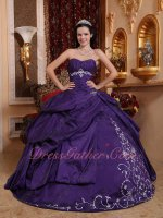 Silver Embroidery Blue Violet/Eggplant Taffeta Quince Ball Gown Very Puffy