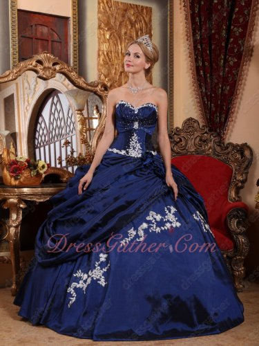 Sleeveless Navy Blue Taffeta Military Celebrity Ball Gown With Off White Applique