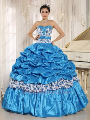Azure Sky Blue Taffeta/Printed Floral Element Match Quinceanera Ball Gown