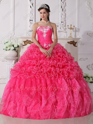 Elegant Hot Pink Ruffles Leisure Quinceanera Party Dress Money-back Guarantee