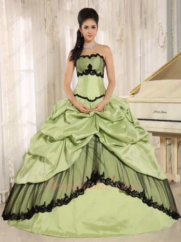 Yellow Green Taffeta Black Details Reputation Quinceanera Dres Lolita