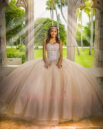 Colorful AB Crystals Bodice Champagne Tulle Puffy Ruched Ball Gown For Quince Event