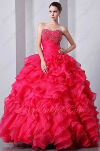 Deep Coral Red Sweetheart Ruffles Quinceanera Ball Gown Thick Organza Satin