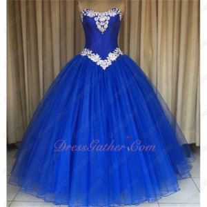 Stage Concert Attire Ball Gown Royal Blue With Off-White Applique Emberllished