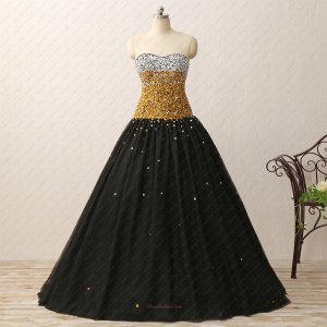 Silver and Gold Beading Bodice Evening Puffy Prom Party Dress Black