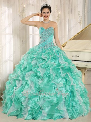 Thickest Apple Green/Off White Organza Ruffles Beading Basque Quince Celebrity Gown