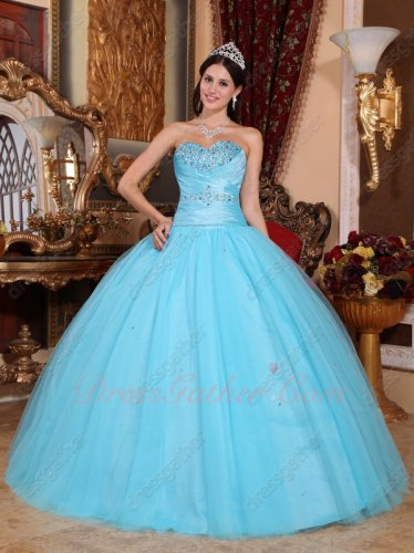 Designer Recommend Aqua Blue Flat Gauze Skirt Military Quinceanera Ball Gown Top 100