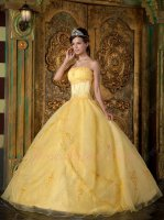 Cartoon Beauty and the Beast Theme Yellow Quinceanera Event Ball Gown