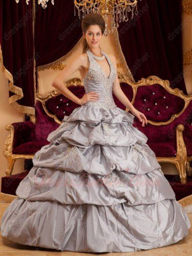 Halter Layers Bubble Cake Skirt Silver Taffeta Quinceanera Gown B2C Direct Sales