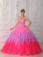 Gradient Hot Pink/Lavender/Coral Pink 3 Layers Cake Quinceanera Ball Gown Colorful