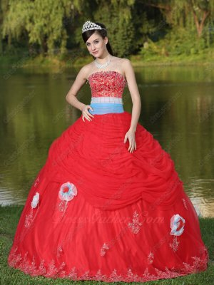 Common Used Basque Waist Quinceanera Dress Flat Red Tulle Skirt With 3D Flowers