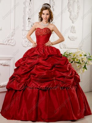 Puffy Half Bubble Wine Red Taffeta Skirt Girls Quinceanera Dress Party Best Choice
