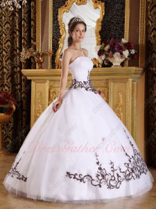 Pin-tucks Bodice Western Quinceanera Ball Gown White Tulle With Chocolate Embroidery