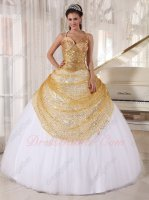 Spaghetti Straps Gold Sequin Bodice Sweet 16 Ball Gown White Flat Tulle Skirt