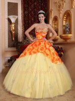 Oil Painting Sunflower Printed Fabric Cover Light Yellow Tulle Quinceanera Gowns Cheap