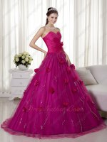 Fuchsia Basque A-line Trimed Prom Ball Gown Flat Tulle Skirt With Flowers