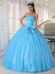 Young Girls Wear Aqua Blue Gauze Flat Quinceanera Ball Gown Waistline With Bowknot