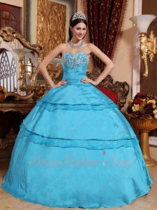 2019 Aqua Blue Taffeta Holiday Daughters Quince Ball Gown Looks Very Puffy