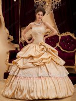 Beautiful Bubble Ball Gown Champagne Taffeta Quinceanera Dress